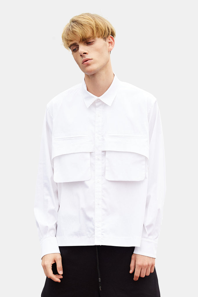 SEANNUNG - 雙口袋短版襯衫 Double-Pocket Shirt - Men