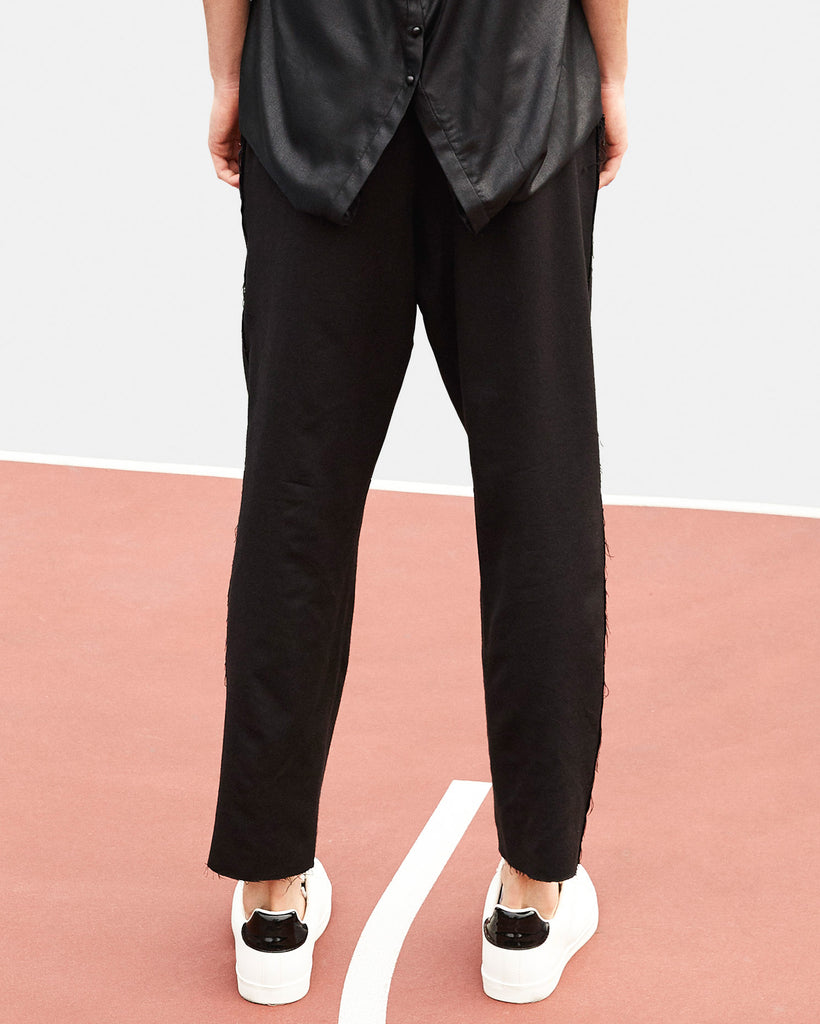 SEANNUNG - 黑色抽繩西裝褲 Tailored Trousers with Elastic Waist in Black - Men