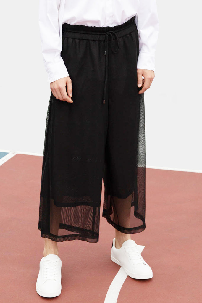 SEANNUNG - 雙層網寬管褲 Double Layer Meshed Wide-leg Trousers - Men