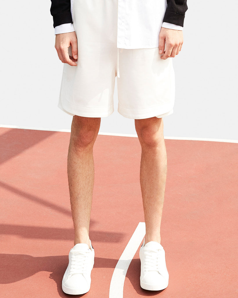 SEANNUNG - 白色雙層剪接運動褲 Reconstructed Shorts in White - Men