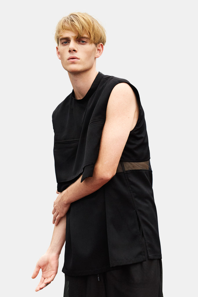 SEANNUNG - 雙口袋背心 Sleeveless T-shirt with Double Pockets - Men