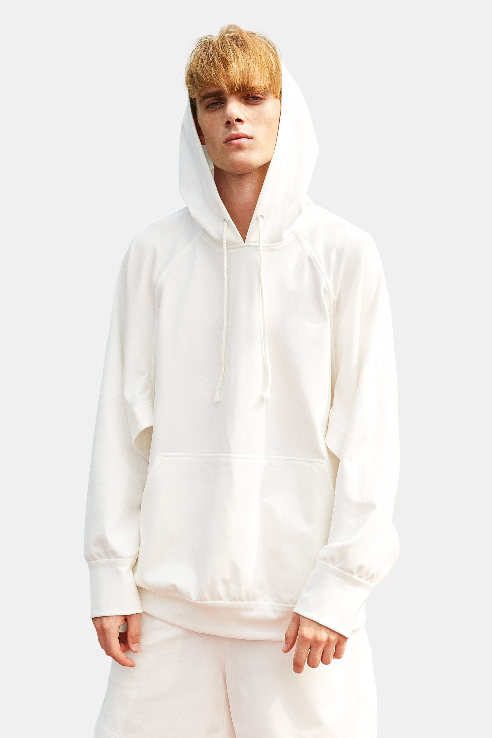 SEANNUNG - 白色長袖開衩帽T Long Sleeve Split Hoodie in White - Men