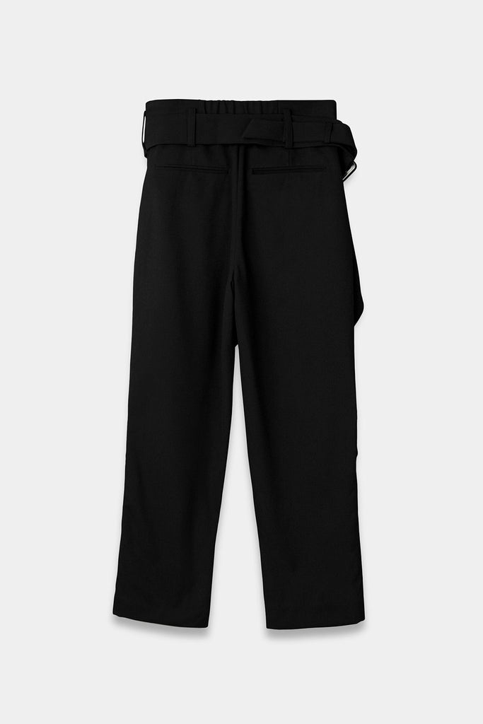 SEANNUNG - 黑色前交叉襠片長褲 Crossed Belt Trousers in Black - Men
