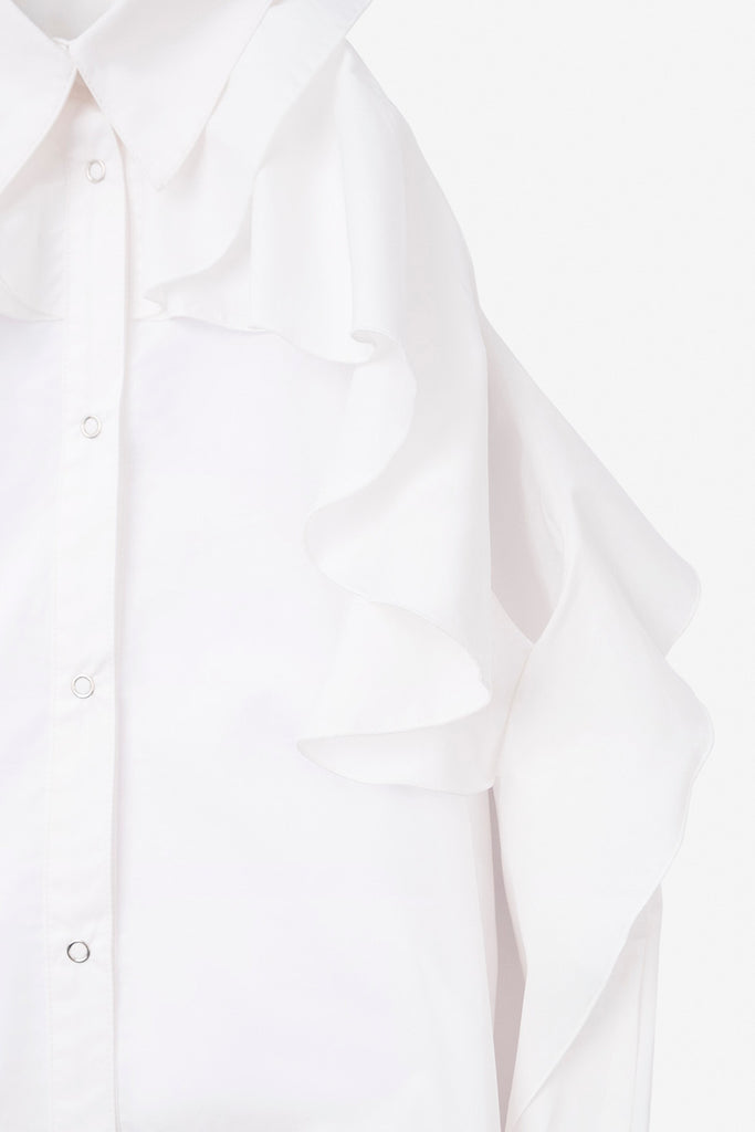 SEANNUNG - 白色露肩荷葉襯衫 Off-Shoulder Flounced Shirt in White - Woman