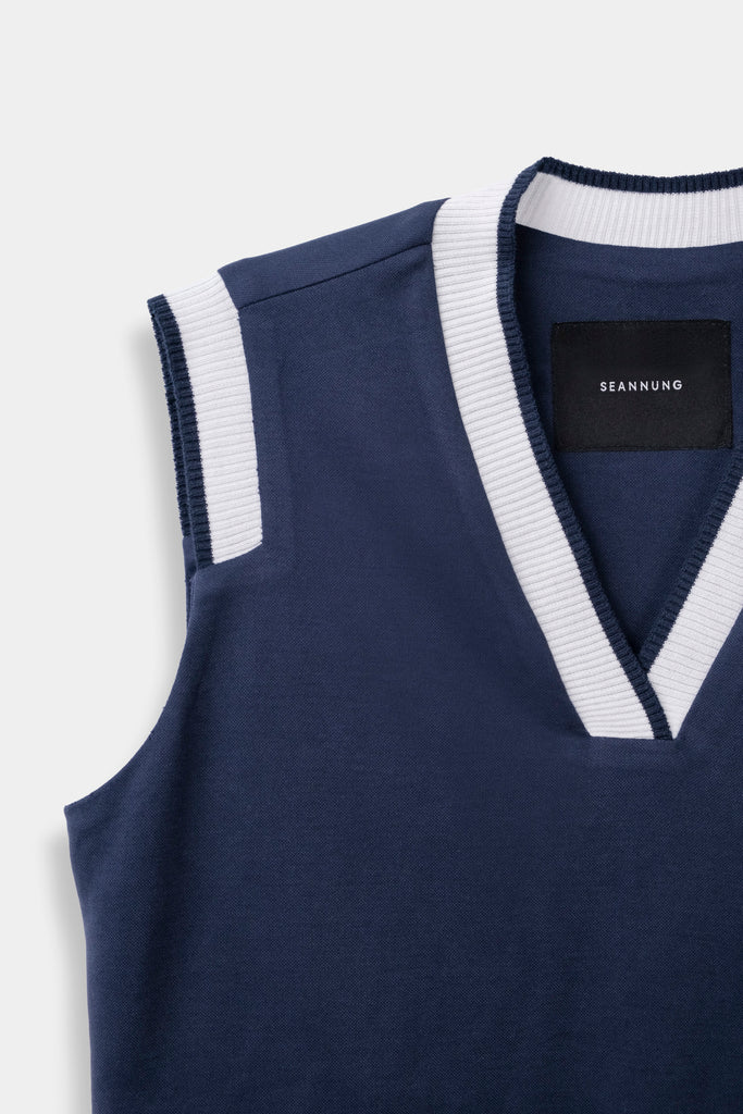 SEANNUNG - 深藍結構無袖POLO上衣 Structure Sleeveless Polo Shirt in Navy - Woman