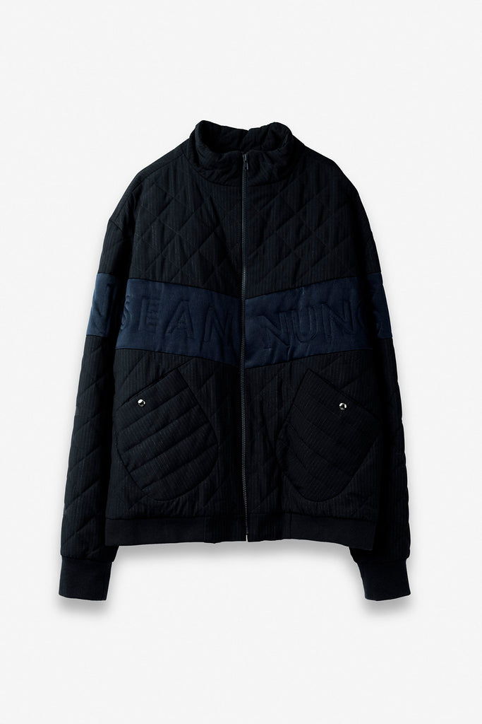V Cut Striped Pattern Padded Jacket in Navy