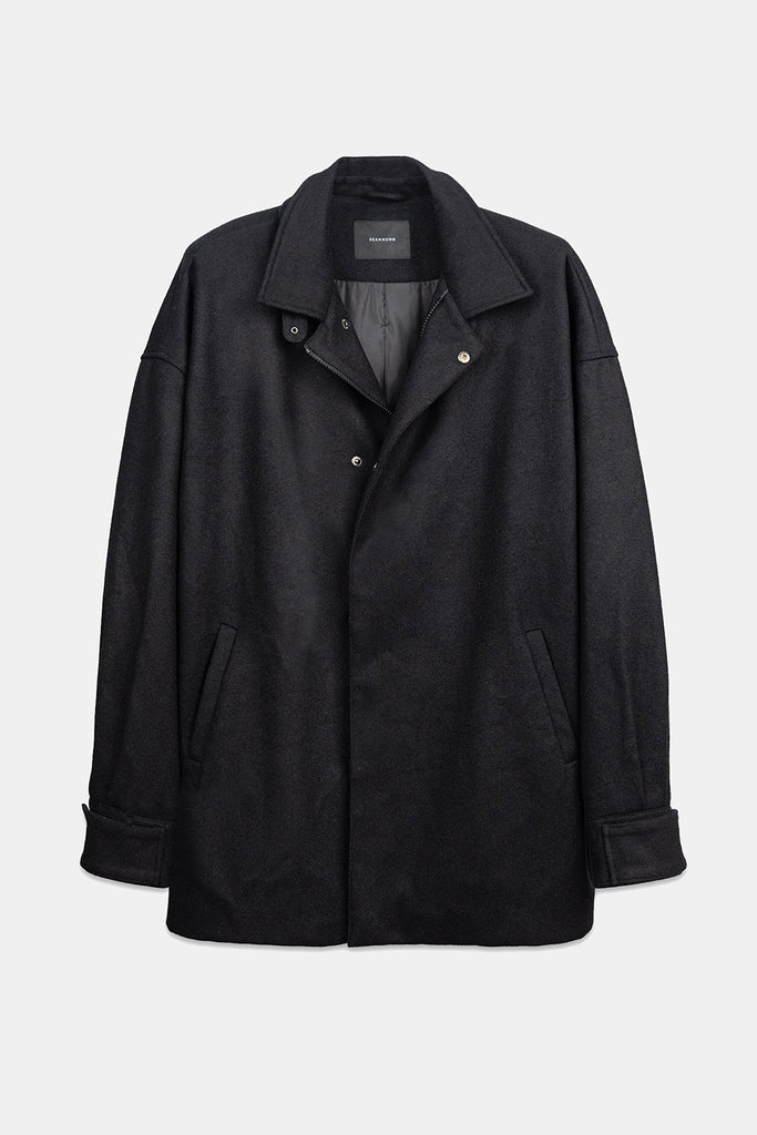 SEANNUNG -黑色毛料機車夾克  Wool Locomotive Jacket in Black- Men