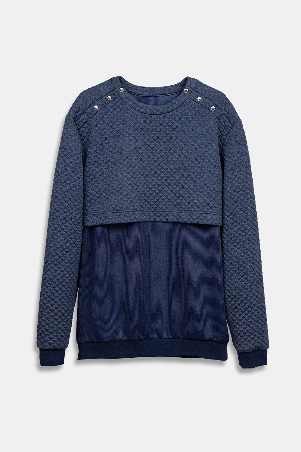 SEANNUNG -深藍色雙層剪裁大學T Double-Layer Cutting Top in Navy- Men