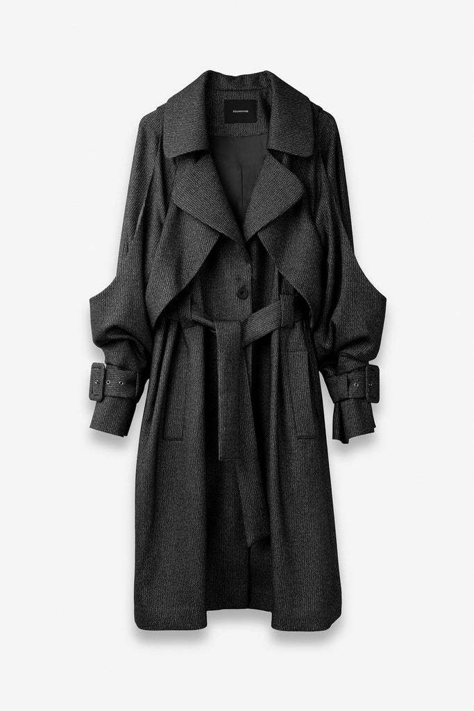 Double-Layered Shoulder-off Coat