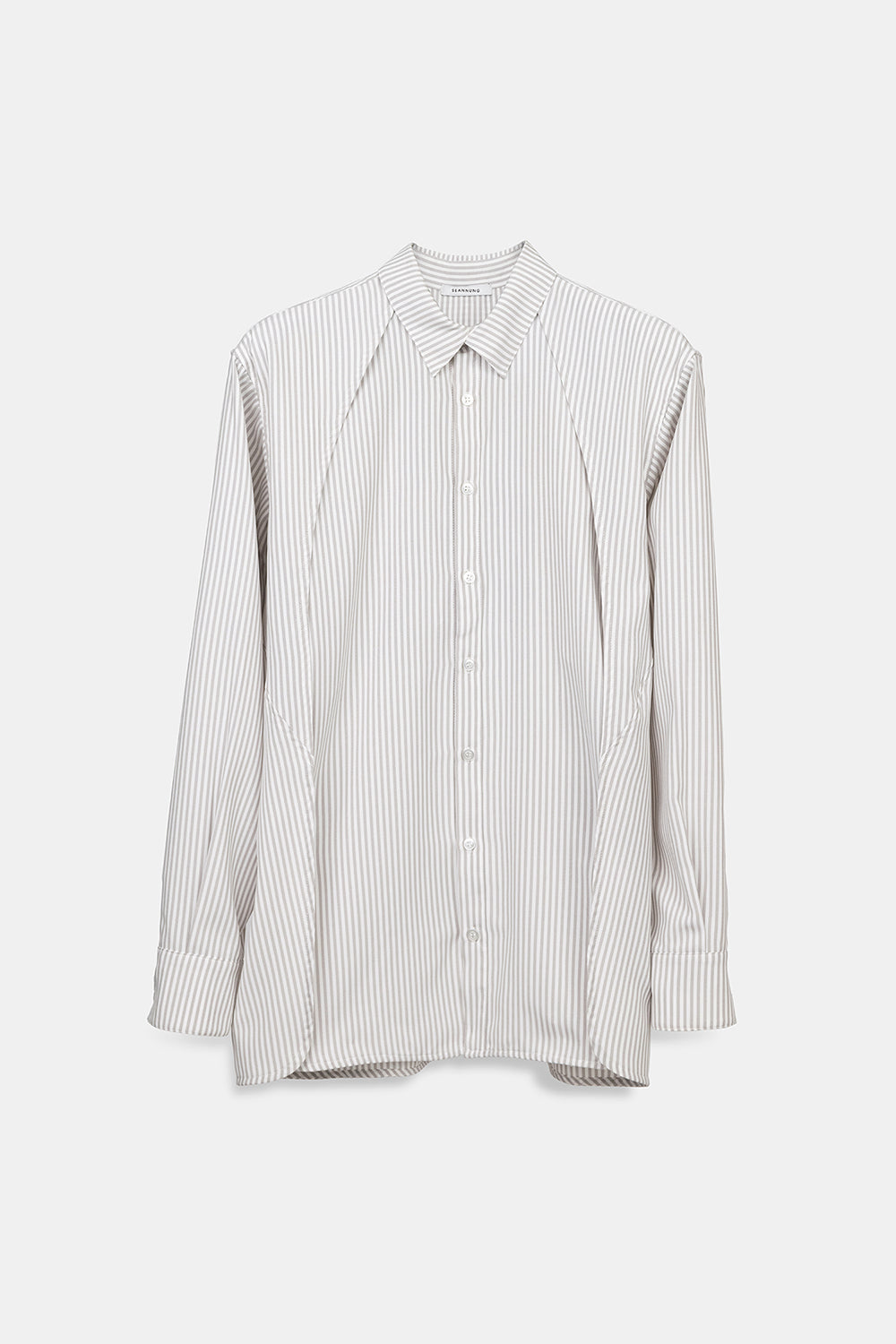 SEANNUNG - 條紋披肩襯衫 Striped Pattern Double Layered Shoulder Detail Shirt- Men