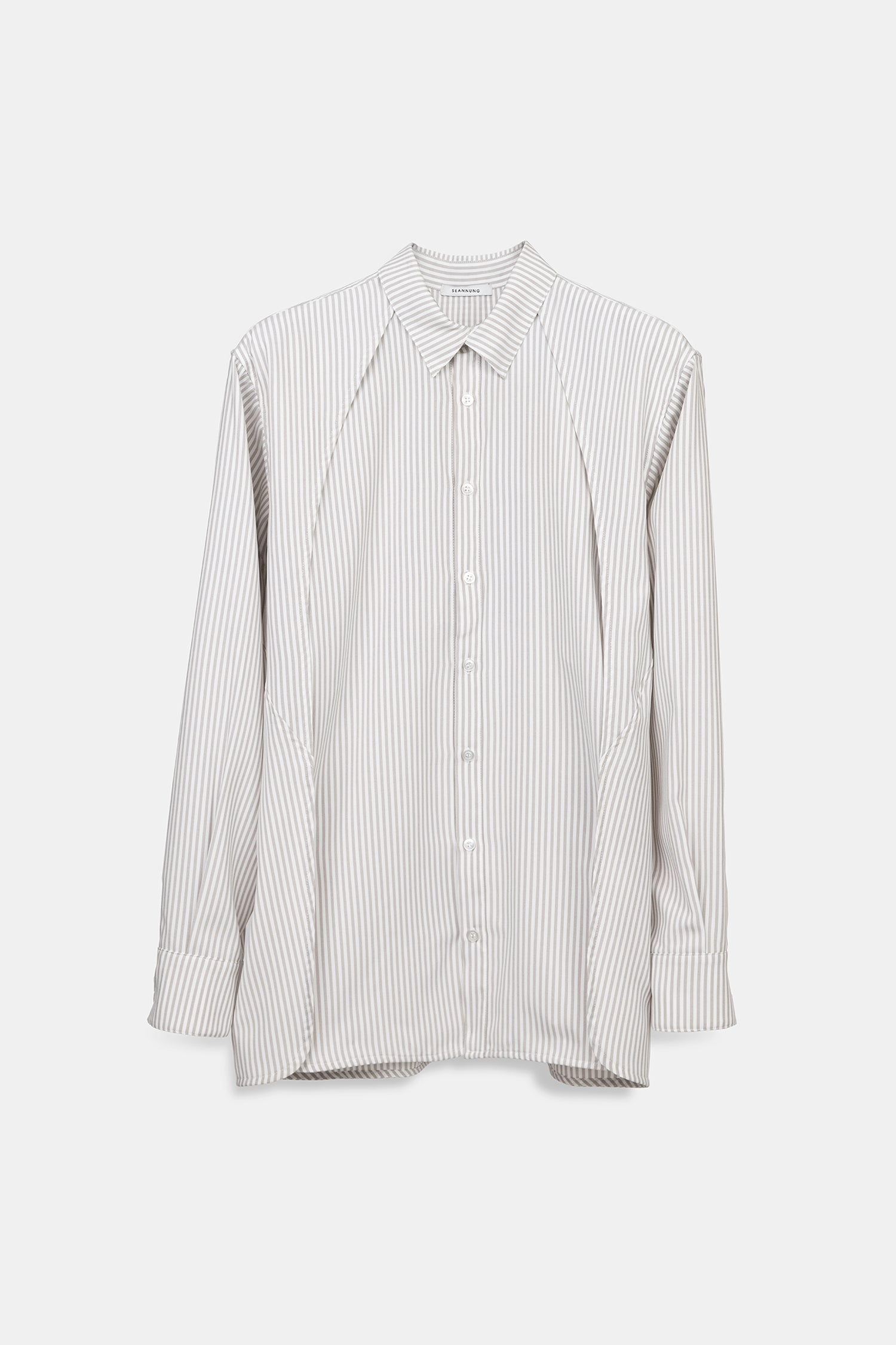 SEANNUNG - 條紋披肩襯衫 Striped Pattern Double Layered Shoulder Detail Shirt- Women