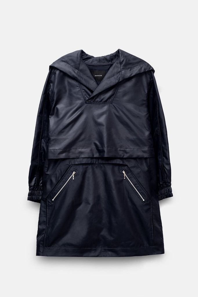 Double-Layered Drawstring Casing Windbreaker Dress in Navy