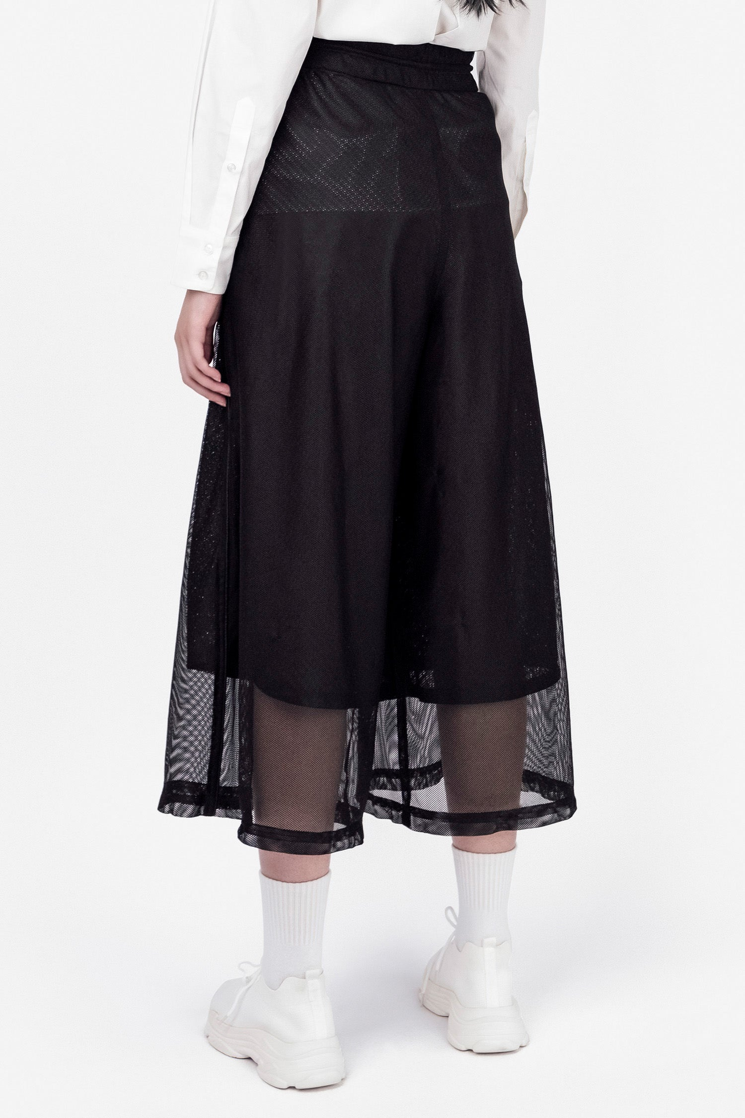 SEANNUNG - 雙層網寬管褲 Double Layer Meshed Wide-leg Trousers - Woman