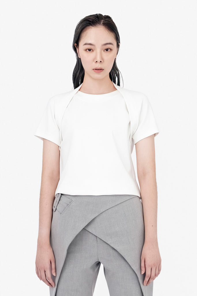 SEANNUNG - 白色層次披肩T恤 Double Layered Shoulder Detail Shirt in White - Woman
