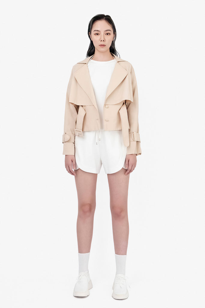 SEANNUNG - 卡其短版雙層綁帶風衣 Double Layered Blazer with Belt in Khaki - Woman