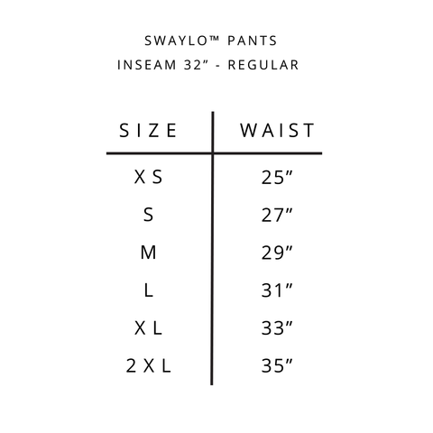 Swaylo pants size guide