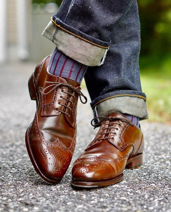 Carmina Armagnac Shell Cordovan Wingtip Bluchers with Water Resistant Cream