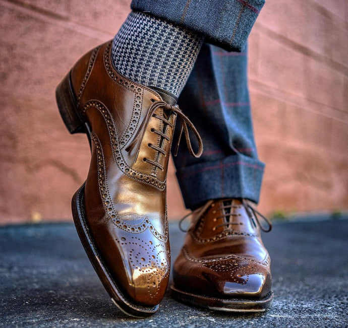 Antonio Meccariello Brown Calfskin Lucius Oxford Wingtip Brogue Shoe
