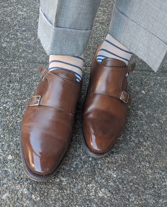 Meermin Mallorca Brown Double Monkstrap with Cleaner Conditioner
