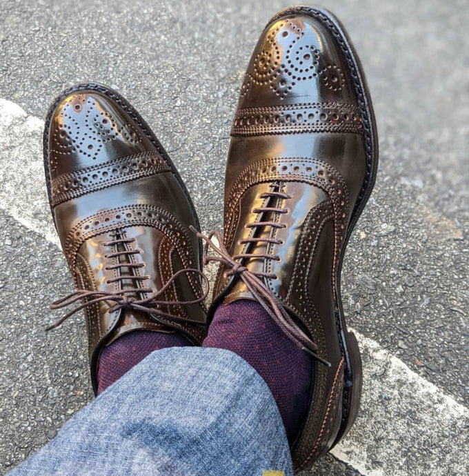 Allen Edmonds Dark Brown Shell Cordovan Cap Toe Semi Brogue Oxford Shoes