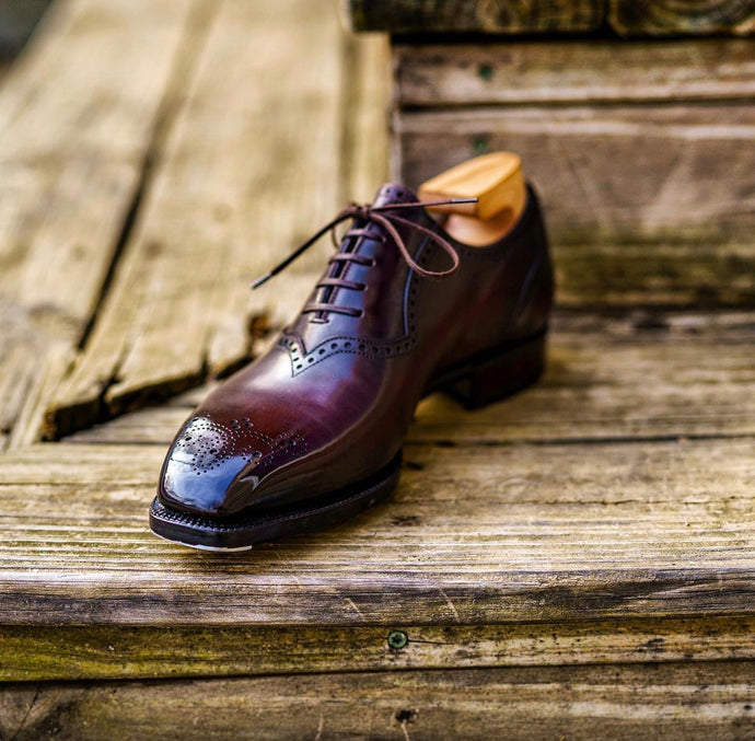 Antonio Meccariello Dark Caffe Tostado Quarter Brogue Chiseled Toe Oxford Shoe
