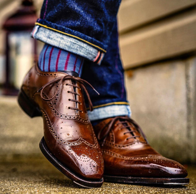 Antonio Meccariello Mid Brown Wingtip Brogue Oxford Shoe