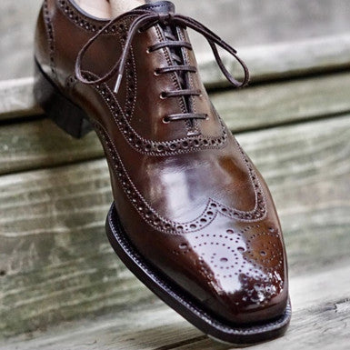 Antonio Meccariello Wholecut Faux Wingtip Brogue with High Shine Mirror Shined