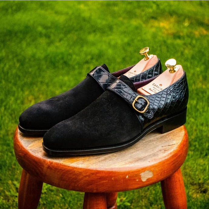 Carmina Shoemaker Custom Black Suede and Crocodile Single Monkstraps with Cleaner Conditioner