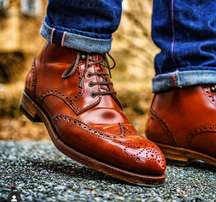 Carmina Shoemaker Light Brown Shell Cordovan Wingtip Boot