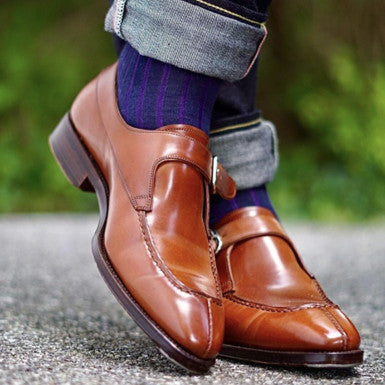Carmina Split-Toe Single Monkstrap Amaretto Shell Cordovan with Water Resistant Cream