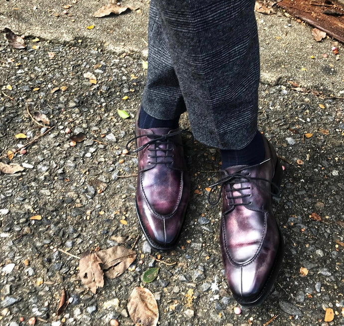 Cru Nonpareil Aubergine Split Toe Derby Shoe