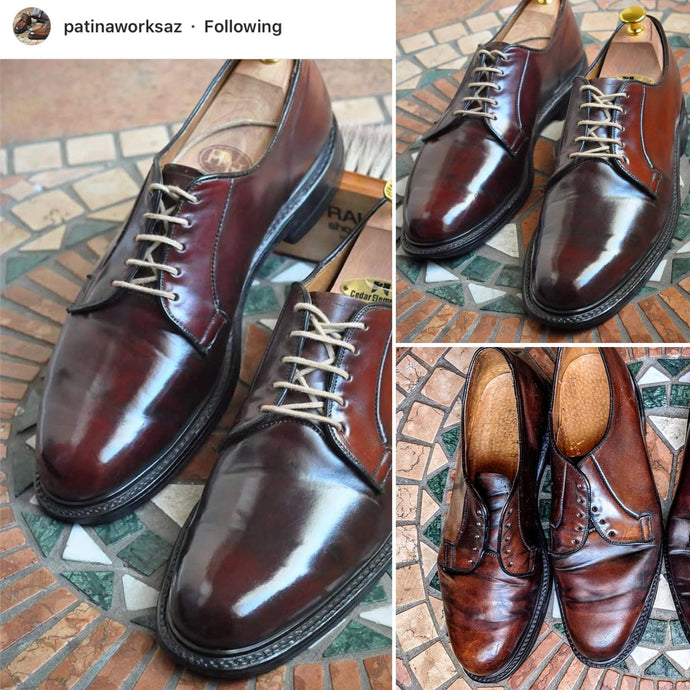 Vintage Florsheim Shell Cordovan Derbies Restored using Pure Polish