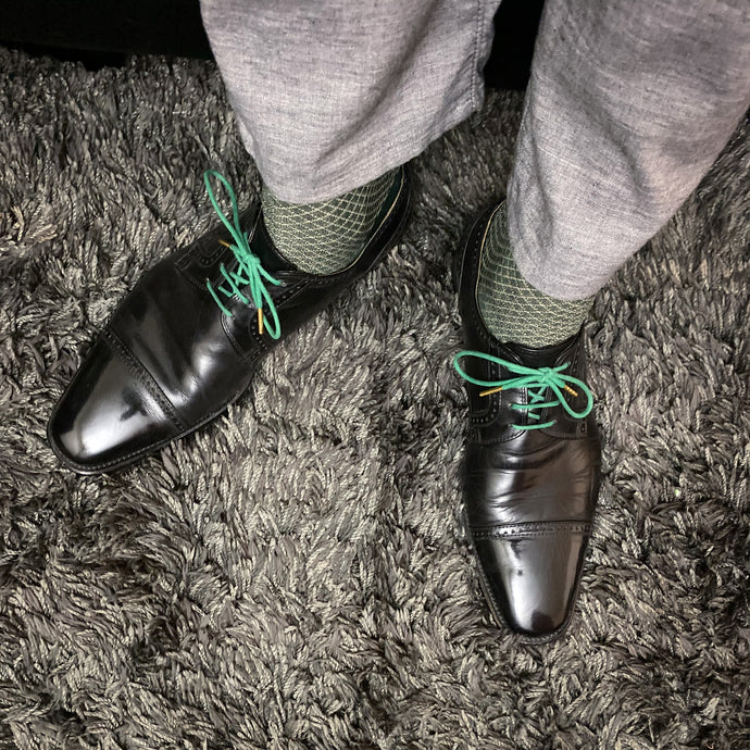 Mirror Shined Nordstrom Derbies with Green Laces, Dress Socks, Grey Twill