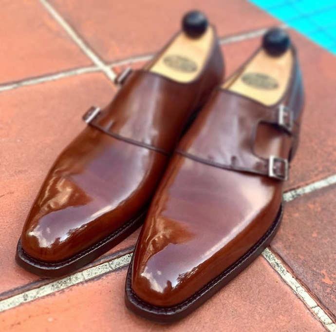 Vass Shoes Double Monkstraps Mirror Shine with High Shine
