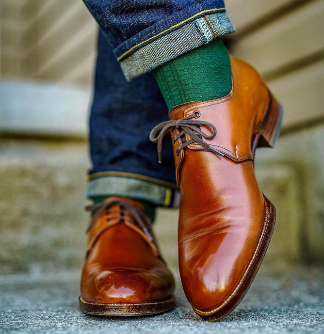 Saint Crispins Brown Shell Cordovan 106 Almond Toe Derby Shoe