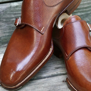 Saint Crispins Horween Russian Hatch Grain Double Monkstraps with Cream Polish