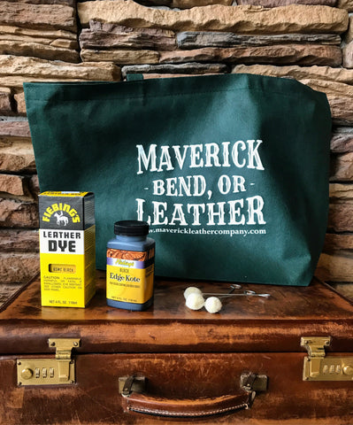Maverick Leather shopping bag and Fiebings dye & daubers