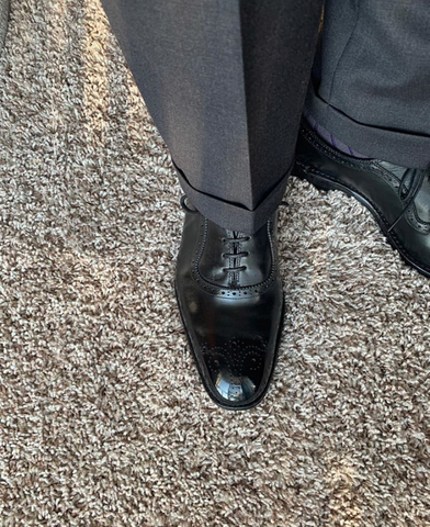 Allen Edmonds Mirror Shine Black Oxford Heel to Toe