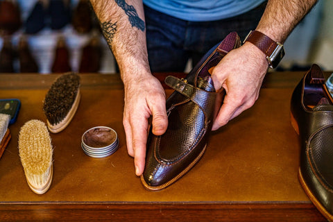 Applying Water Resistant Cream to the toe of the shoe