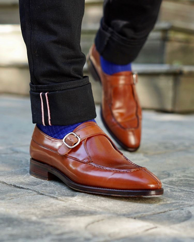 Black Selvedge Denim Carmina Amaretto Shell Cordovan Monk Straps