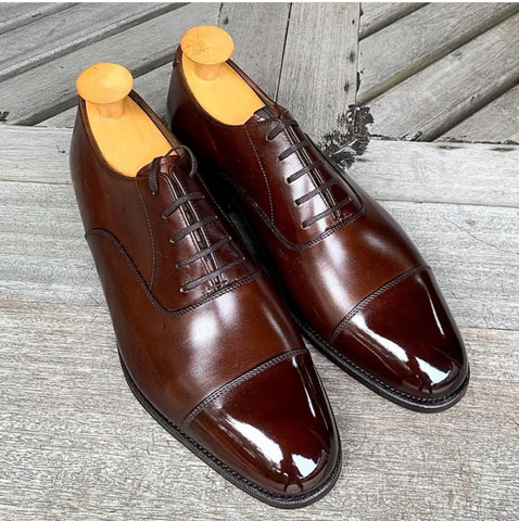 Bridlen Shoes brown oxfords polished to a mirror shine Singapore by The Ghillie Brogue