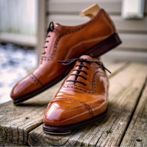 Carmina Shoemaker model 80406 Cap-Toe Adelaides in Horween Natural Shell Cordovan