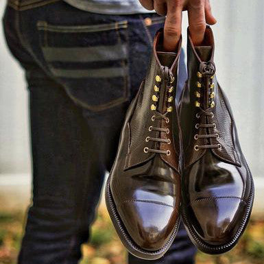 Dark Cognac Shell Cordovan Enzo Bonafe Balway Boots Polished with Neutral and Water Resistant Cream Polish