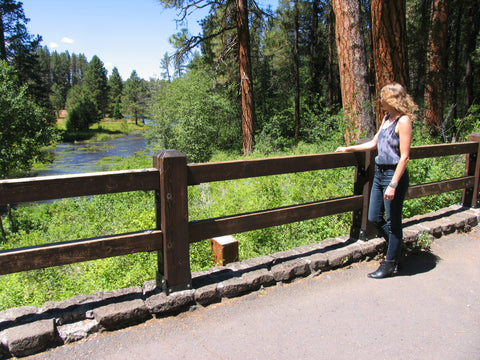 Amanda looks across at the Head of the Metolius River
