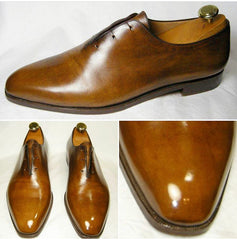 Berluti Wholecut Oxfords polished to a mirror shine using Pure Polish Products High Shine Paste