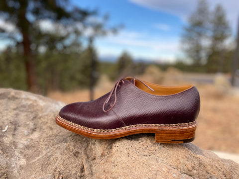Pure Polish RAB Bespoke Oxblood Russian Hatch Grain Derbies on a rock with trees single left shoe facing to the left