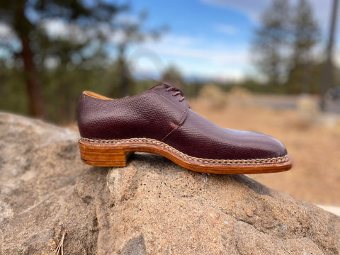 Pure Polish RAB Bespoke Oxblood Russian Hatch Grain Derbies on a rock with trees single left shoe facing to the right