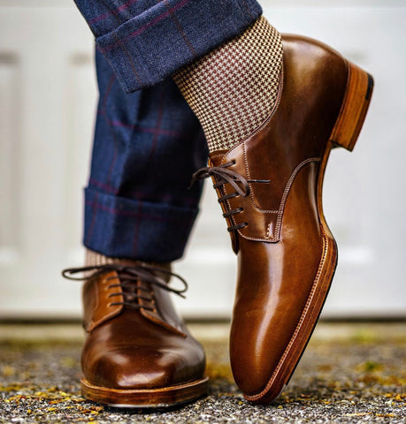 Acme Shoemaker Brown Shell Cordovan  Derby, Chiseled Toe Shoe