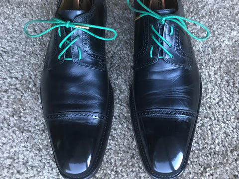 Cool Lacing Colored Green laces Black Leather Nordstrom Derbies After Cleaning