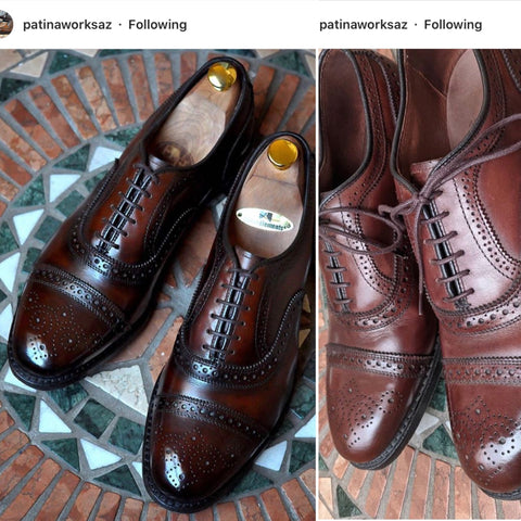 Allen Edmonds Strand Custom Patina Conditioned with Pure Polish